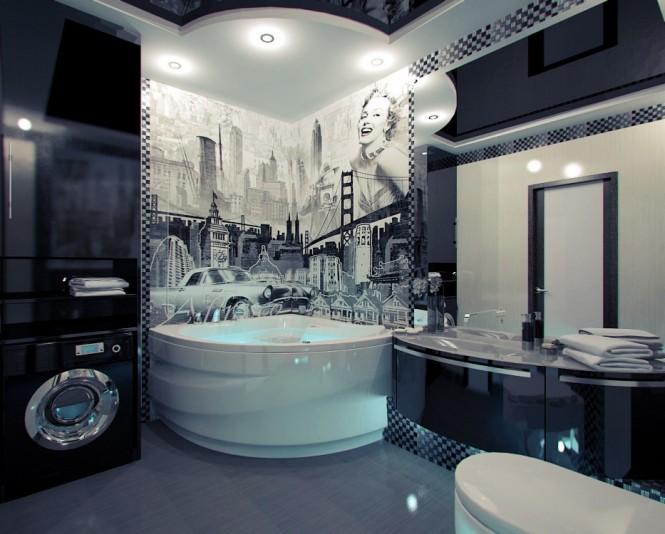 American Themed Mural Bathroom 665 534 Freshremodeling